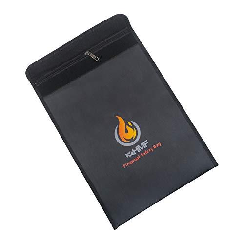 HMF 44146 Feuerfeste Dokumententasche mit Reißverschluss | DIN A4 | 38 x 28 x 1 cm | Schwarz