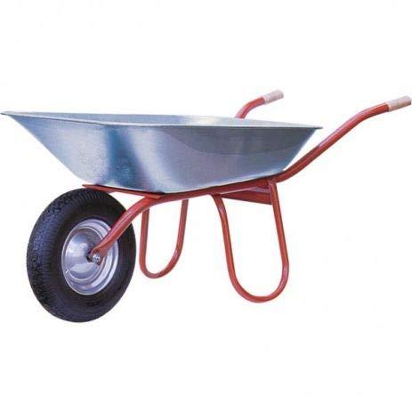 Professionele bouwkruiwagen Praktica I kruiwagen met luchtwiel, houten handgrepen & 120 liter opening I verzinkt & gemonteerd