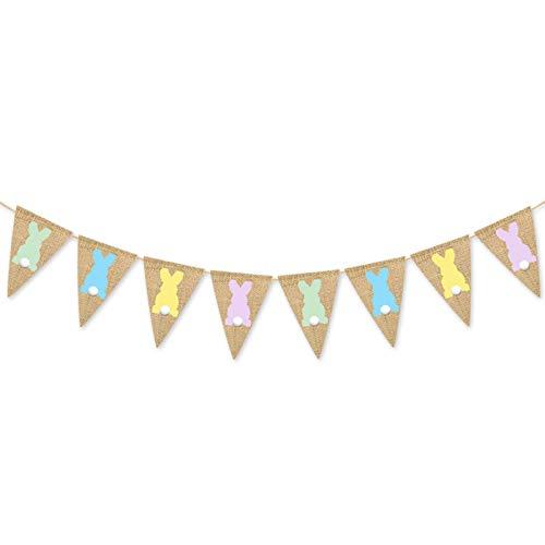 TETHYSUN Banner de conejo, guirnalda de arpillera de Pascua, bandera de conejo, para decoración de fiestas en el hogar