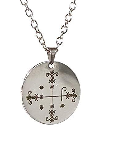 Eclectic Shop Uk Veve Papa Legba Loa Colgante Hoodoo Talismán Talismán Collar de cadena de 45,7 cm
