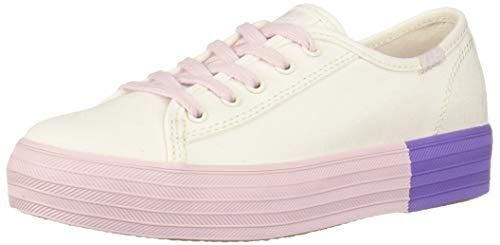 Keds Girl's Kickstart Seasonal Toe Cap Sneaker, White Eyelet, 055 Medium US Big Kid