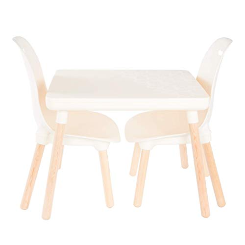B. Toys by Battat Spaces by Battat – Kids Furniture Set – 1 Craft Table & 2 Kids Chairs with Natural Wooden Legs (Ivory)