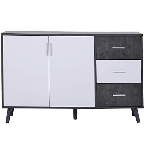 Kommode mit Schubladen, Sideboard mit 2 Türen, 3 Schubladen Highboard, Moderne Anrichte Flurschrank, Beistellschrank Küchenschrank, Mehrzweckschrank Standschrank für Wohnzimmer Esszimmer, Weiß+Grau