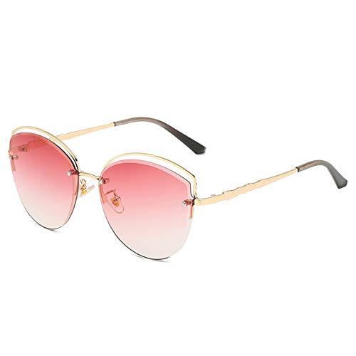 QINGZHOU Gafas de Sol,Gafas de metal, deportes al aire libre, tendencia, gafas de sol para disparar en la calle, moda, gafas de sol que cambian de color, señoras, C1 marco dorado degradado rojo