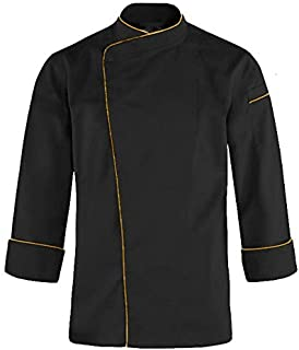 Kodenipr Club® Mens Womens Single Breasted Black Chef Coat Mustard Piping Contrast,Snap Buttons,Poly/Cotton,Size (Medium(38))
