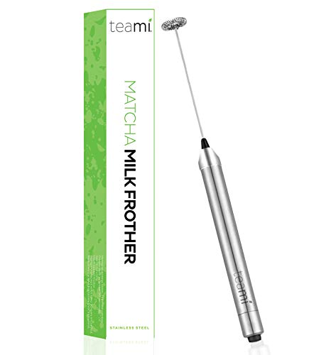 Teami Handheld Electric Milk Frother - Our Best Whisk for Coconut, Almond, and other Milks, Coffee, Cappuccino, Espresso, Latte - Powerful & Durable - Stainless Steel, Portable, Battery Operated