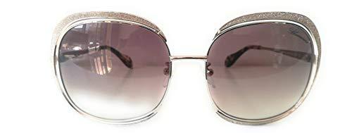 Blumarine Mod. SBM122_ Gafas de sol de mujer, marco cuadrado de metal con pestañas doradas al perfecto estilo Brillo dorado y lente marrón.