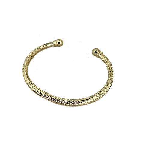 THE BLING KING Gold Torque Bracelet Adjustable Heavy Real Gold Plating for Ladies Mens Boys