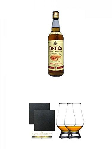 Bells Original 0,7 Liter + Schiefer Glasuntersetzer eckig ca. 9,5 cm Ø 2 Stück + The Glencairn Glass Whisky Glas Stölzle 2 Stück