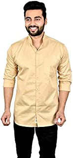 moudlin Solid Men's Mandarin Collar Casual Fullsleeve Shirt by Maruti Online