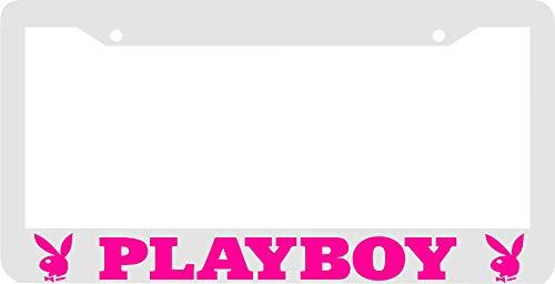 PotteLove White Pink Playboy License Plate Frame, 6' X 12' Customizable Text
