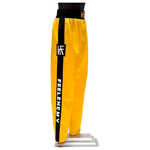 KRF Feel The Enemy Kick Box Pantalones Largos de Boxeo, Hombre, Amarillo, XL