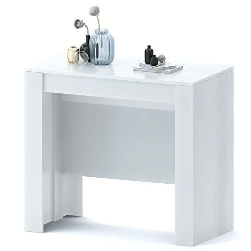 Clarissa Plus Tavolo Consolle Allungabile Fino A 3 Metri, Tavolo 14 Posti Salvaspazio Multiposizione, Design Moderno Ed Elegante, Consolle per Casa E Ufficio, 78 x 51 x 90 cm, Colore Bianco Lucido