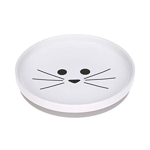 LÄSSIG Teller Porzellan Kinderteller mit Silikonring rutschfest Kindergeschirr/ Little Chums Cat