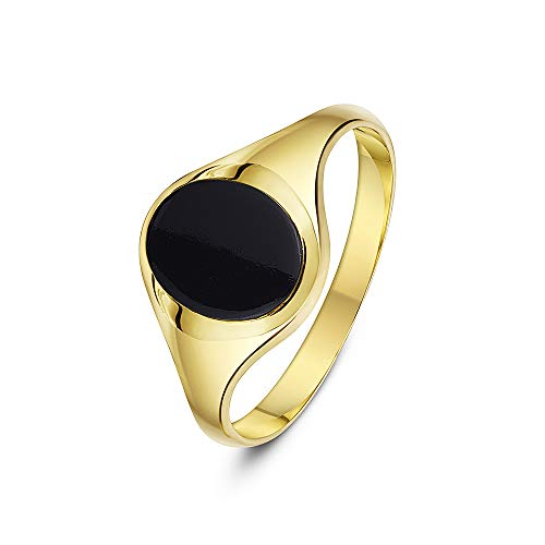 Theia Men's 9 ct Yellow Gold Oval Shape Black Onyx Stone Signet Ring with 10 x 8 mm, Size J