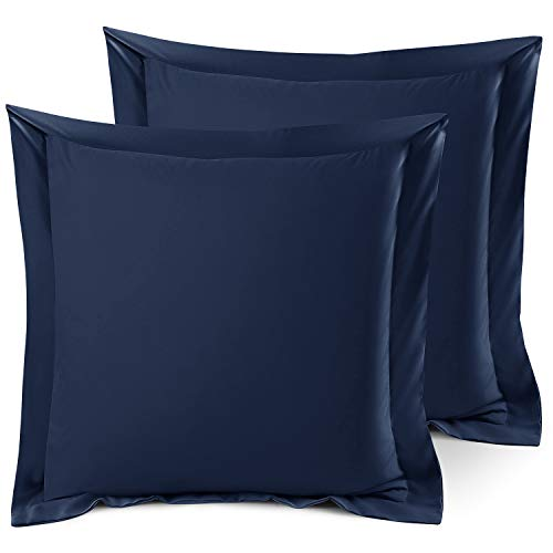 Nestl Bedding Soft Pillow Shams Set of 2 - Double Brushed Microfiber Hypoallergenic Pillow Covers - Hotel Collection Premium Bed Pillow Cases, Euro 26'x26' - Navy