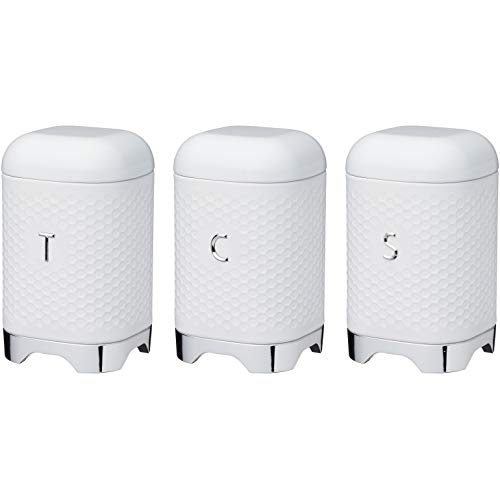 KitchenCraft Lovello Textured Tea/Coffee/Sugar Canisters with Geometric Hexagon Pattern, Steel, Ice White, 3 Pieces