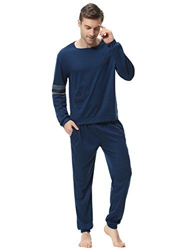 Aibrou Clásico Pijamas Hombre Invierno Algodon Mangas Pantalones Largos Set, Suave,Cómodo (Azul Oscuro, Medium)