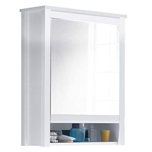 trendteam smart living badkamer hoge kast kast Ole Spiegelkast 1 deur 62 x 80 x 25 cm Corpus wit melamine, voorzijde wit decor