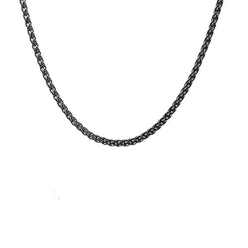 Daesar Colgante Cadena Plata Hombre Cadena Spiga Collar Cadena Hombre Acero Inoxidable 3mm Collares Cadenas Hombre 46-76cm