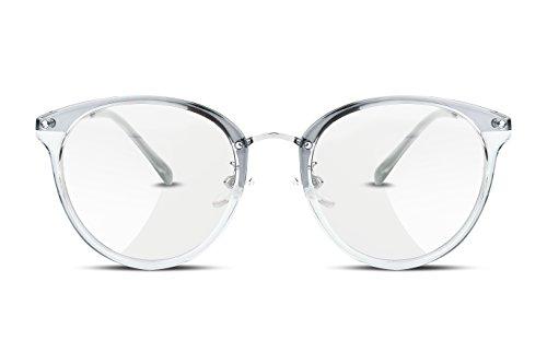 FEISEDY Klassische Rund Metall Rahmen Klare Linse Brille ohne stärke Fake Brille für Damen & Herren B2260