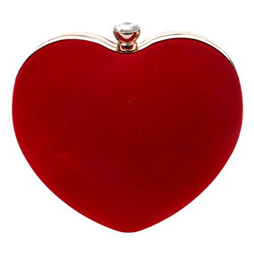 KUDICO Damen Clutch Herztasche Abendtasche Umschlag Frauen Umhängetasche Handtasche Abnehmbarer Kette Tasche für Hochzeit Freizeit Party(rot, one Size)