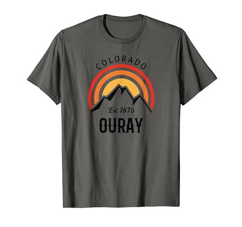 Retro Cool Ouray Colorado Montañas Rocosas Puesta de sol Camiseta