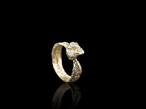 Diamond Barnacle - Goldring mit drei Rohdiamanten