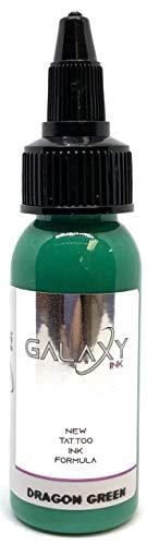 GALAXY INK - Tattoo ink - DRAGON GREEN 1oz (30ml) - best colors and blacks - Vegan