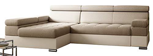PAOLO Ecksofa Schlaffunktion, Eckcouch mit Bettkasten, L-Form Ecksofa, L-Form Sofa (Cremig + Cremiger Kunstleder (EKO))