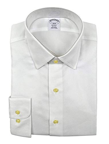 Brooks Brothers Men's Textured Regent Fit Non Iron Dress Shirt White (15' Neck 32/33' Sleeve)
