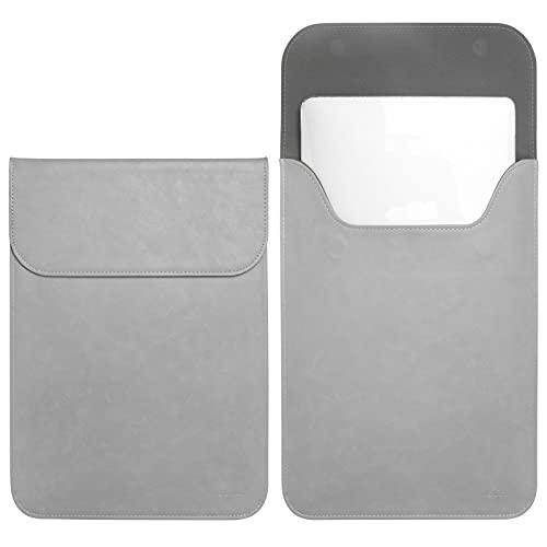 TECOOL Slim 13 Zoll Laptop Hülle Leder,MacBook Tasche Snugly fits MacBook 13 mit Plastik Hartschale für 13 2018-2020 MacBook Air M1,2016-2020 MacBook Pro 13 M1,Sleeve für Surface Pro,XPS 13-Grau