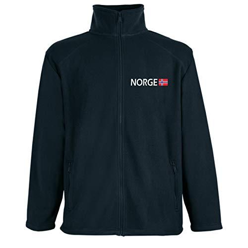 HB_Druck Norge Fleece Jacke mit Bruststick 2XL Schwarz