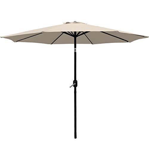 AXT SHADE 2,7 m 9 pies sombrilla de jardín 38 mm Poste inclinable con manivela para Patio/Playa/Piscina Impermeable-Beige