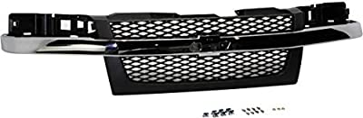 Grille Assembly Compatible with 2004-2012 Chevrolet Colorado Mesh Insert Textured Dark Gray Shell and Insert 2-Piece Design with Chrome Center Bar
