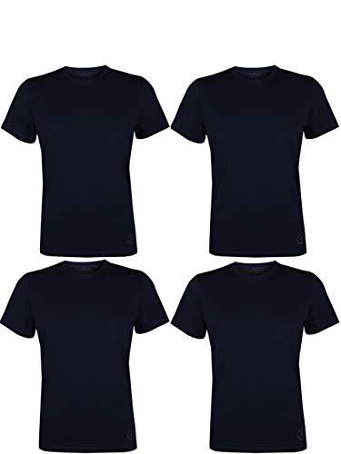 TOM TAILOR 4er Pack Herren T-Shirt O-Neck Rundhals Kurzarm Basic Uni Tee Shirt Regular Fit 100{2cf7a524e07e3bc6808dd00c3af98c11fc3d7ff8bceacabd7c69101126e40bb9} Baumwolle, Größe:XL, Farbe:4X Sky Captain Blue (O-Neck)