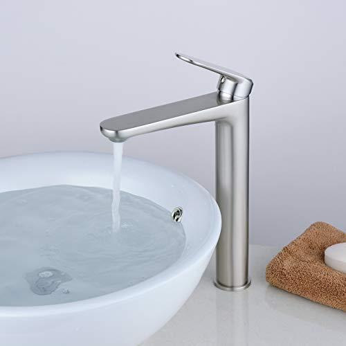 Grifo de Lavabo de Latón, Ahorro del Agua Grifo Mezclador Agua Fría y Caliente, Cepillado/Mate Acabado