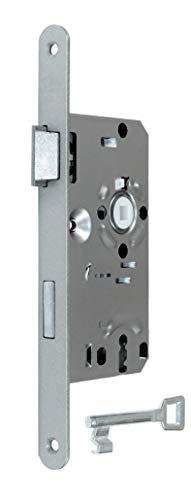 BKS Standard Zimmertürschloss/Türschloss mit Metall Falle und Riegel, mit Buntbart 55/72/8, Stulp: 20 x 235mm abgerundet, DIN Links incl. SN-TEC® Montageset