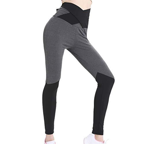 Pandodut Leggings de Cintura Alta de Yoga de Empalme de Costura de Lazo de frenillo Lumbar para Mujer Gy M