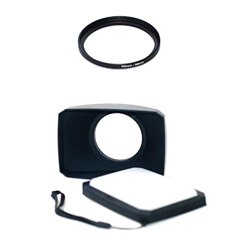 55-58mm Step Up Ring + 58mm 16:9 Wide Angle Lens Hood Compatible for Sony FDR-AX40 FDR-AX53 AX55 Camcorder Camera Accessories