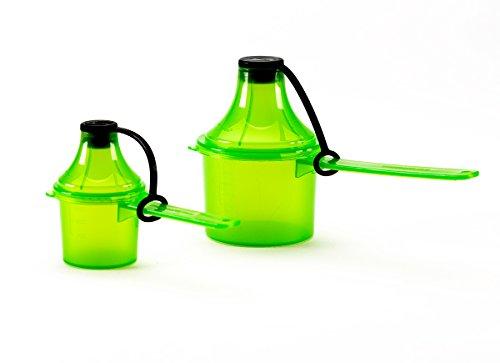 Scoopie 2 Count Portable Scoop Funnel Pre/Post Pack, Green - #1 On The Go Powder Dispenser for Water Bottles and Shaker Bottles