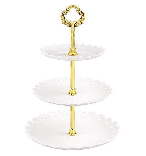 Jinlaili 3 Etagen Tortenständer Kuchenständer, Muffin Ständer Cupcake Ständer Kuchen Dessert Torten Etagere, Gebäck Muffin Obst Halter für Party, Geburtstag, Hochzeit, Weihnachten (Weiß)