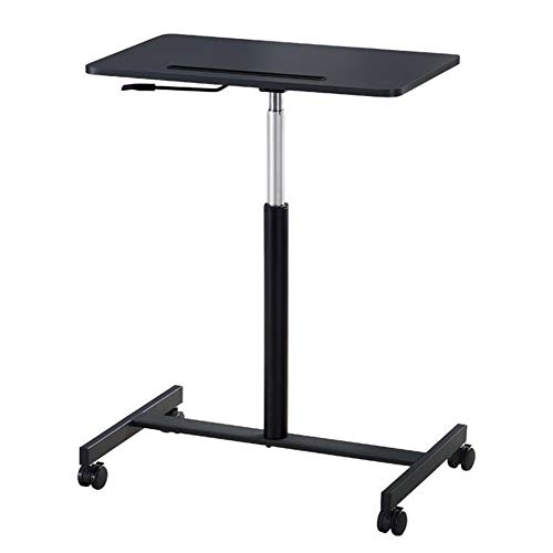 Jlxl Overbed Tables, Laptop Desk Height Adjustable, Portable Notebook Sofa Side Table Home Use, With Lockable Wheels For Studying Reading Coffee (Color : Black)
