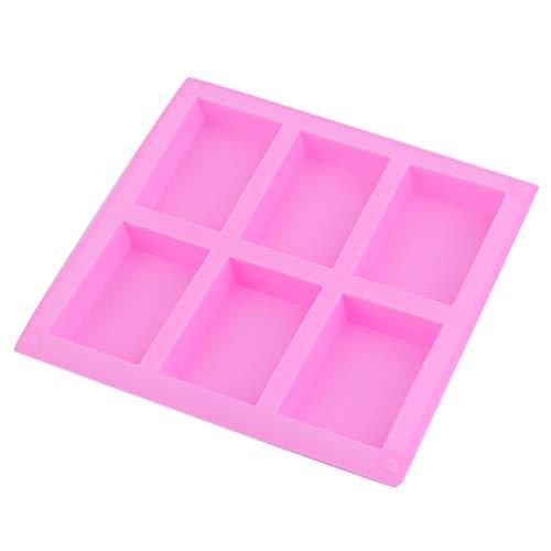 SWEEPID - Molde de silicona para jabón (6 orificios, rectangulares), color rosa