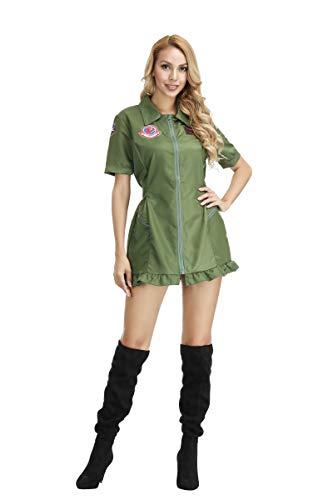 jutrisujo Top Gun Kostüm Damen Frauen Fluganzug Air Force Fighter Pilot Erwachsene Pilotin Overall Halloween Cosplay Party Arbeitskleidung Armee Grün S