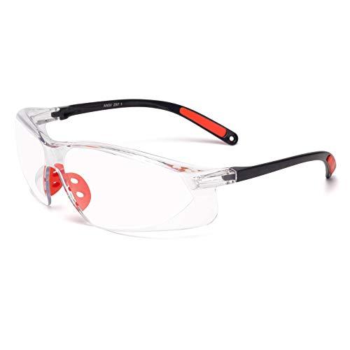Amorays Gafas protectoras para ciclismo, lentes transparentes antivaho y arañazos, asas antideslizantes, marco envolvente