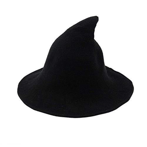 Halloween Sombrero de Lana para Mujer Sombrero de Bruja Costume de Halloween Gorro de Color Sólido para Adultos y Adolescentes Disfraz de Moda para Cosplay Fiesta Carnaval (Negro, Talla Única)
