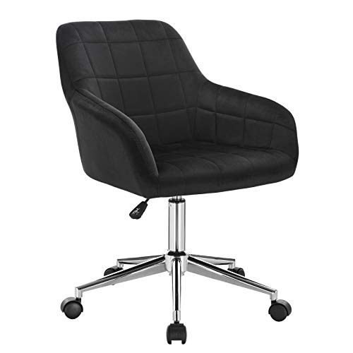 WOLTU BS79sz 1x Bürohocker Arbeitshocker Schreibtischstuhl Drehhocker Rollhocker Rollstuhl Bürostuhl stufenlos höhenverstellbar mit Rückenlehne und Armlehnen aus Samt Schwarz