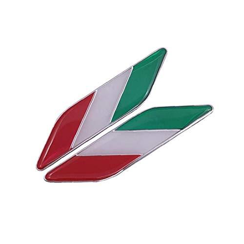 Hoja Creativo De La Insignia De La Bandera De Italia Pegatina Aleación De Aluminio De La Etiqueta Engomada Del Coche Del Emblema De Italia Inscripción Etiquetas De La Decoración Del Coche De 2 Pc