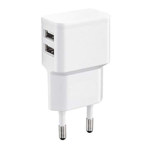Wicked Chili Cargador USB Doble Compatible con iPhone 11 Pro MAX, Samsung Galaxy S20, Note 10, A10, A20e, A40, A51, M30s, Huawei P30 y Xiaomi (Duo Power Supply 2.4 A, 12W) Blanco